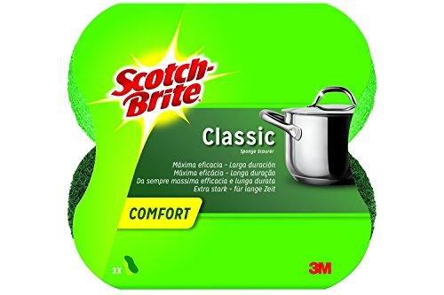 Scotch-Brite CLCNS2 Classic Comfort Topfreiniger, Extra starkes Vlies, grün, 2er Pack (2 x 2 Stück)