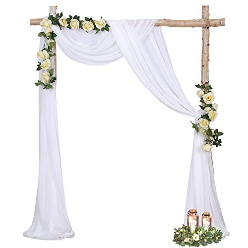 Wedding Arch Drapes 6 Yards White Sheer Backdrop Curtain 2 Panel Chiffon Fabric Drapery for Arbor Wedding Archway Ceremony Party Ceiling Decor Backdrop