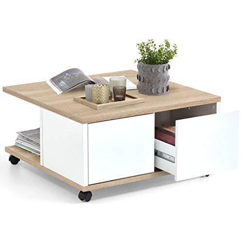 FMD furniture Couchtisch, Spanplatte, Eiche Nb/Weiß Edelglanz, ca. 70 x 70 x 36 cm