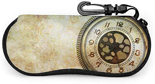 MODORSAN Gafas de sol Estuche blando Diseño abstracto de neopreno ultraligero hecho de fondo de ensueño con reloj de bolsillo Estuche para gafas con cremallera y clip para cinturón