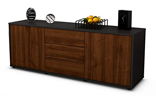 Stil.Zeit Möbel TV Schrank Lowboard Ameline, Korpus in anthrazit matt/Front im Holz Design Walnuss (135x49x35cm), mit Push to Open Technik und hochwertigen Leichtlaufschienen, Made in Germany
