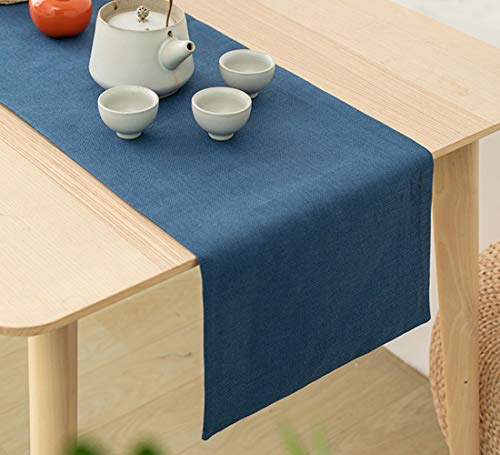 Aspthoyu Camino de mesa de lino sintético de color azul, lavable, para mesa de cocina, 32 x 180 cm