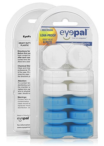 Assorted Heavy Duty Leak Proof Contact Lens Cases 6 Pack - Reusable Cases for Contact Lens Care | Total Eye Care Kit 6 pk Travel Cases for Soft | Hard Contact Lenses - Includes 3 White | 3 Blue Cases