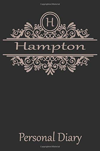 H Hampton Personal Diary: Cute Initial Monogram Letter Blank Lined Paper Personalized Notebook For Writing & Note Taking Composition Journal