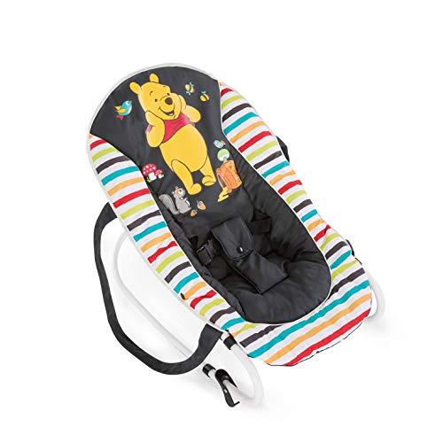Hauck 620380 Rocky Pooh Geo - Hamaca para bebes de 0 meses hasta 9 kg, función mecedora, respaldo ajustable, vestidura desmontable y lavable a mano, sistema de arnés de 3 puntos, diseño de Disney