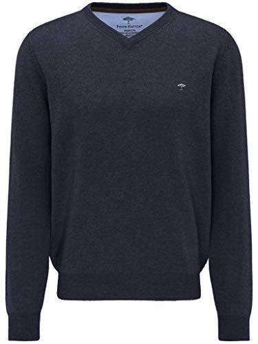 FYNCH-HATTON - Jersey para hombre con cuello en V, mezcla de cachemira de merino, punto fino azul marino L