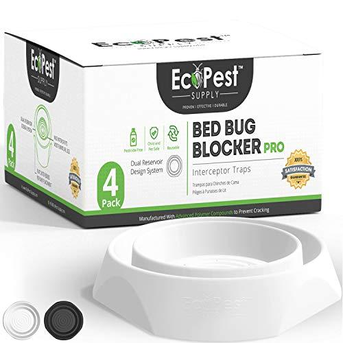 ECOPEST Trappole per Cimici dei Letti – Confezione da 4 | Bed Bug Blocker (PRO) Intercettori Trappole (Bianca) | Monitor, Rilevatore e Trappola per Le Gambe del Letto