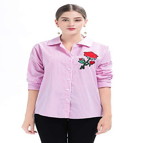 HOSD Camisa Holgada y versátil de Longitud Media con Bordado de Rosas de para Mujer
