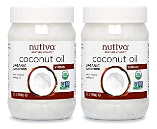 Nutiva Organic, Cold-Pressed, Unrefined, Virgin Coconut Oil from Fresh, non-GMO, Sustainably Farmed Coconuts, 15 Fl Oz (Pack of 2) (B001EO5Q64) | Amazon price tracker / tracking, Amazon price history charts, Amazon price watches, Amazon price drop alerts