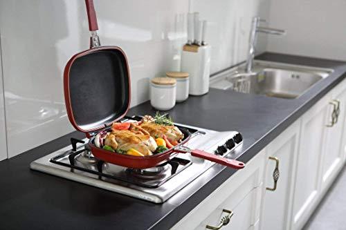 CARTSHOPPER Non Stick Aluminium Grill Pan, Red