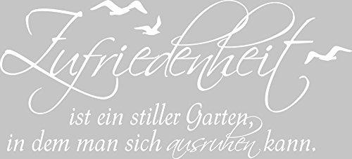 GRAZDesign Wandbild WC Bad verschönern Badsprüche - Badezimmer Tattoos Zufriedenheit ist EIN Stiller Garten - Wandtattoo Bad Deko maritim / 88x40cm / 650241_40_010