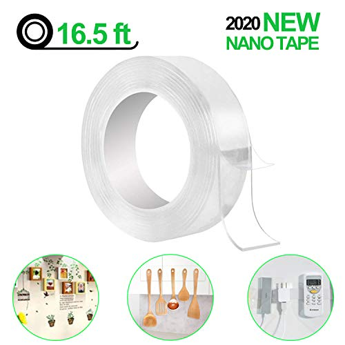 Fix Carpet Mats Posters 16.5 FT) Paste Items Nano Reusable Tape Double Sided Trace Less Washable Tape,Transparent Heavy Duty Multipurpose Adhesive Tape for Party Decoration and Paste Photos