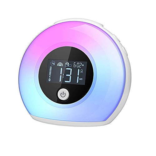 Aisuo Kids Alarm Clock, Bluetooth 5.0 HiFi Speaker with Night Light, Rechargeable Battery, 3 Alarm Sounds & 12H Calendar, Best Gift for Girls, Friends and Ideal Choice for Bedroom.