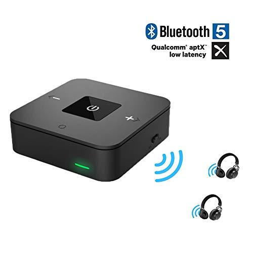 Friencity Bluetooth 4.1 Ricevitore trasmettitore con AptX a bassa latenza Riproduzione 25 ore Adattatore audio 2 in 1 con ottica Aux DA 3,5 mm TOSLINK per TV, stereo auto / casa, PS4 XBOX, DVD, cuffie