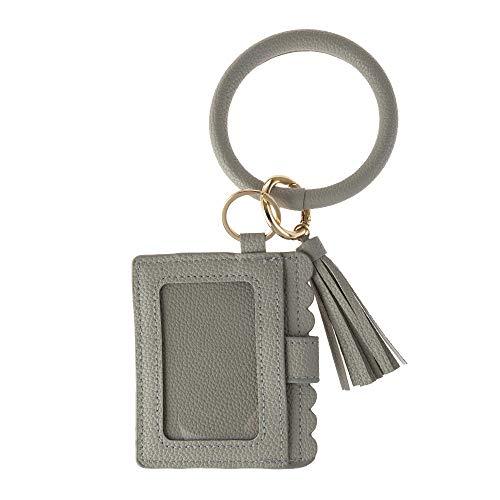 Geldbeutel Damen Schlüsselanhänger Tasche Schlüssel Armband Kunstleder Handtasche Geldbörse Karten Halter mit Schlüsselring Armreif (Grau)
