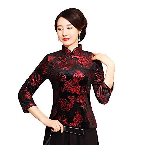 ACVIP Frauen Frühling Herbst Blusen Schlitz Chinesisch Qipao Stil Oberhemd Shirt(China L:EU 38)