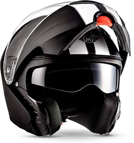 """Moto Helmets® F19 """"Racing Black"""" · Motorrad-Helm · Klapp-Helm Modular-Helm Flip-up Integral-Helm Motorrad-Helm Roller-Helm Sport · ECE 22.05 Sonnenvisier Schnellverschluss Tasche S (55-56cm)"""