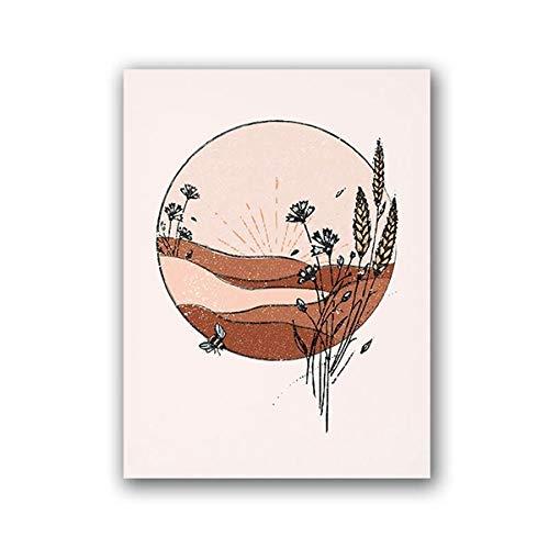 N / A Naranja quemada Inspirado en la Vendimia Mediados de Siglo Arte de la Pared Lienzo Pintura Sala de Estar Decoración del hogar Pintura Sin Marco 30x42 cm