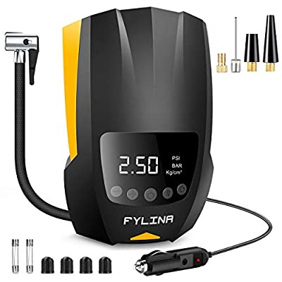 FYLINA Auto Air Compressor tire inflator,12V DC Portable Air Compressor Pump, Digital Air Pump with Led Lighting,Auto Tire Pump for Car Bicycle, Motorcycle, Basketball and Other Inflatables by FYLINA