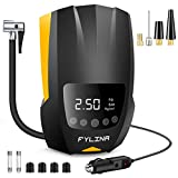 FYLINA Auto Air Compressor Tire Inflator, 12V DC Portable Air Compressor Pump, Auto Shot Off, Digital Air Pump with Led Light, Tire Pump for Car Bicycle, Motorcycle, Basketball and Other Inflatables