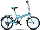 20 Pulgadas Bicicleta Bici Ciudad Plegables Adulto Hombre Mujer, Bicicleta de Montaña Btt MTB Ligero Folding Mountain City Bike Doble Suspension Bicicleta Urbana Portátil, H036ZJ