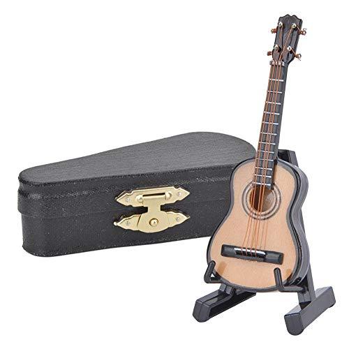 Miniatuur gitaar, 3.1in Mini houten gitaarmodel met standaard muziekinstrumentmodel Hobby Collectibles cadeau voor huisornamenten(8cm)