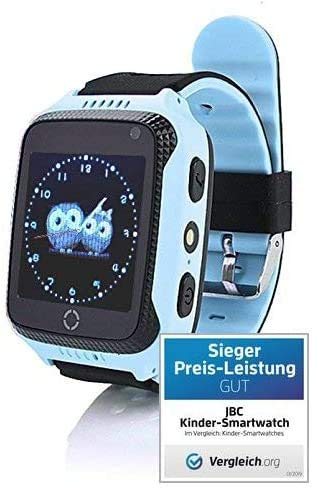 JBC Kinder GPS Uhr/Smartwatch SOS,Schulmodus,Kamera mit deutscher JBC Watch Tracker App (blau)