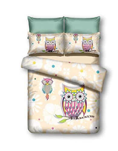 DecoKing 200x220 cm Bettwäsche mit 2 Kissenbezügen 80x80 Eule Eulen Bettwäscheset Bettbezüge Microfaser Bettwäschegarnituren Reißverschluss Owls Collection Summer Story Creme weiß rosa gelb blau