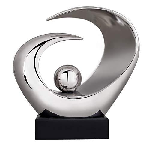 Lostgaming Skulptur aus Keramik, abstrakt, minimalistisch, kreativ, für Wohnzimmer, Weinschrank, Kunst, Geschenk, 2 Farben, 17 x 10 x 33 cm, Farbe: Silber