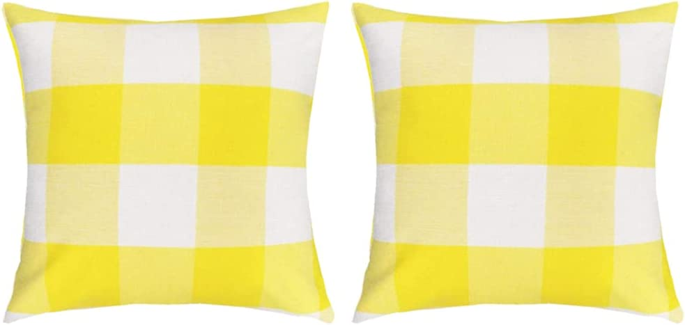 RABUSOFA Fall Throw Pillow Covers Max 74% OFF Check and Charlotte Mall Yellow Plaid Buffalo