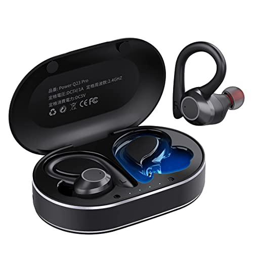 【スポーツイヤホン 耳掛け式】ワイヤレスイヤホン bluetooth 5.1 自動ペアリング 抜群のフィット感 ブルートゥース イヤホン 高音質 重低音 CVC8.0ノイズキャンセリング ランニング bluetooth イヤホン マイク付き IPX7防水