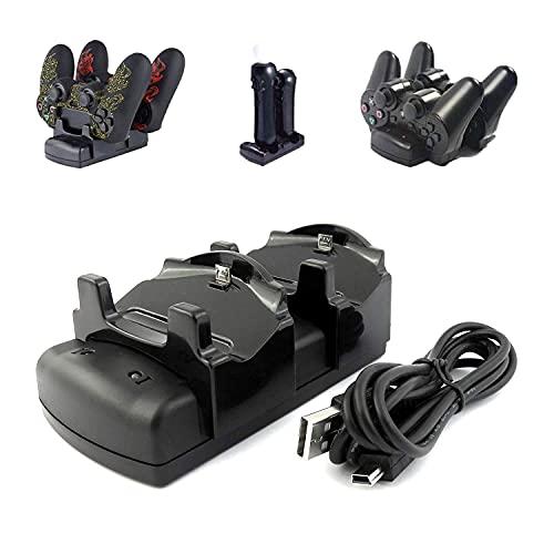 Kailisen PlayStation 3 - Cargador de mando para PS3 / PS3 Move / PS4 con cable USB, 2 puertos de carga, soporte de carga DualDock 3 en...