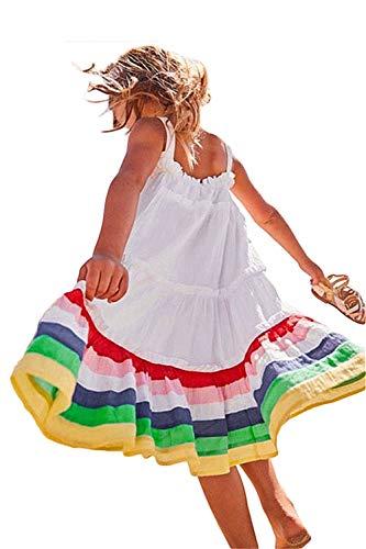 Girl Summer Beach Dress Strapless Boho White Big Rainbow Skirt A-Line Twirly Sundress 4T