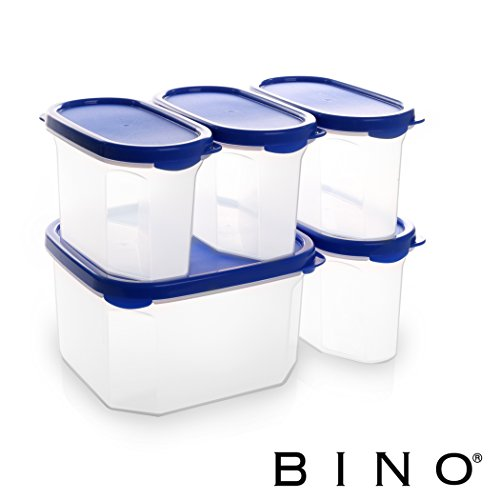 BINO 24-Piece Meal Prep Plastic Food Storage Container Set with Lids (OLD-BLUE)