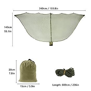 D&S Vertriebs Hamac avec moustiquaire pour camping et extérieur Vert militaire
