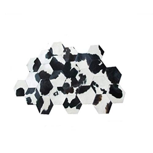 Hbao Alfombra de retales Hecha a Mano de Piel de Vaca a Cuadros con Forma Irregular, Alfombra de Oficina con decoración de Piel en Blanco y Negro única de Gran tamaño (Size : 180cmx240cm)
