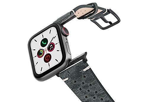 Correa para Apple Watch de piel de becerro gris con oscurecimiento de óxido con 30 orificios en los laterales. Fabricada a mano en Italia, 44, aluminio, Space Gray