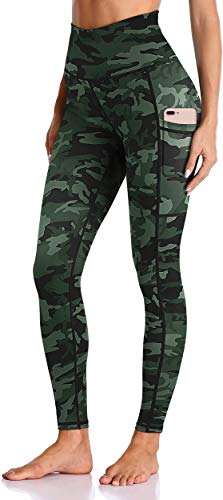 Enmain Women's Workout High Waist Green Camo Yoga Leggings with Pockets Tummy Control Tights Non-See-Through Breathable Gym Running Training Yoga Pants