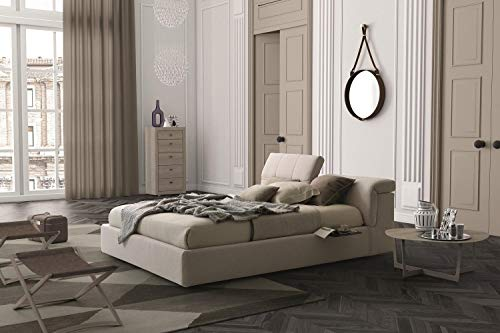 Review Soflex Tower Light Beige Fabric Plush Headboard Platform Storage King Size Bed