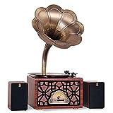 ZSMLB Hi-Fi Audio doméstico Casete Big Vintage Retro Classic Gramófono Forma fonógrafo Altavoz estéreo Sistema Sonido Caja música Audio 3,5 mm Altavoz Diente Azul