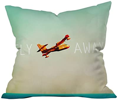 DENY Designs Happee Monkee Fly Away Throw Pillow, 26 by 26 Inch