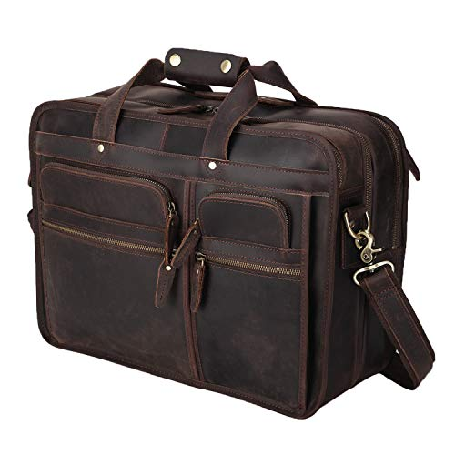 Polare Modern Messenger Bag with Retro Feel Men's Laptop Briefcase with Full Grain Leather Fits for 15.6'' Laptop