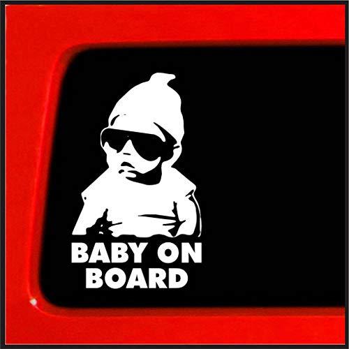 Pegatinas de coche de PVC talladas hueco bebé a bordo depósito de combustible pegatinas 2 hojas