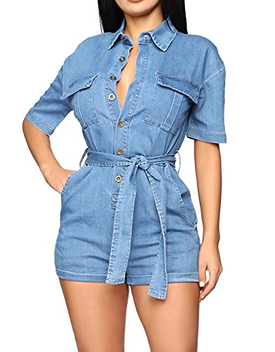 HannahZone Women's Summer Short Sleeves Button Down Pocket Belted Jumpsuits Rompers Light Blue