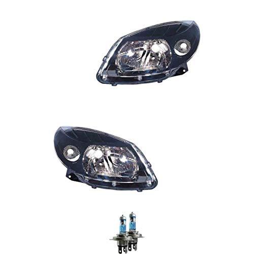 Halogen Scheinwerfer Set H4 schwarz für Sandero inklusive Lampen