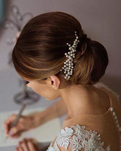 Unicra Braut Hochzeit Haarkamm Silber Perle Kopfschmuck Braut Haarschmuck Haarschmuck für Frauen und Mädchen