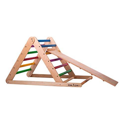 RINAGYM Escalera de Ascenso Triangular - Gimnasio Interior con Tobogán para Bebés y Niños - Marco de Madera, Escalones de Arco Iris, Pintura no Tóxica - Equipo de Equilibrio Plegable