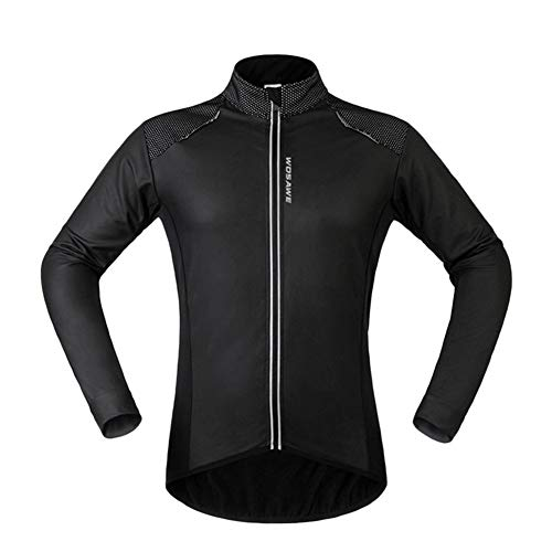 SxLingerie Men's Cycling Jacket Adrenaline Mens High Visibility Jacket Breathable Long-Sleeved Reflective PU Leather Coat for Cycling Running Travelling,Black,XL