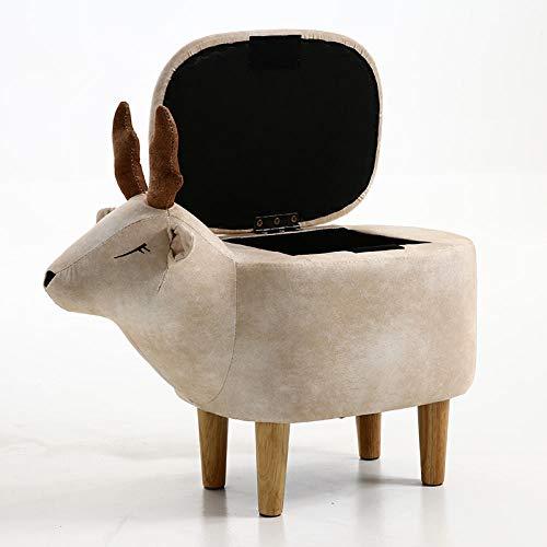 hamacy Tierhocker Kinderhocker Fußhocker Gepolsterter Hocker, Tier Hocker für Kinder, Sitzhocker mit Stauraum, Polsterhocker für Kinderzimmer, Tier-Design-Beige mit Aufbewahrungsbox