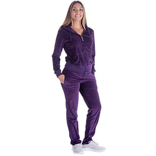 TanBridge Women's 2 Piece Solid Velvet Tracksuit Set Full Zip-up Hooded Sweatshirts & Pants Set